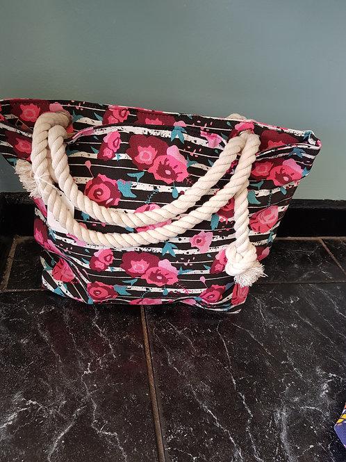 BLACK/PINK ROSE ROPE BAG