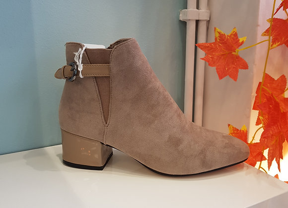 KHAKI ANKLE BOOT WITH BUCKLE STRAP