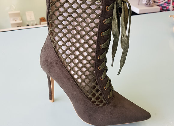 KHAKI GREEN HIGH HEEL LACED BOOTS