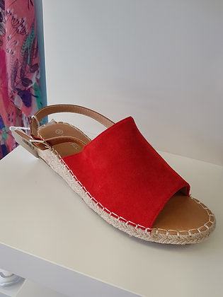 RED OPEN TOE ESPADRILLE WEDGE