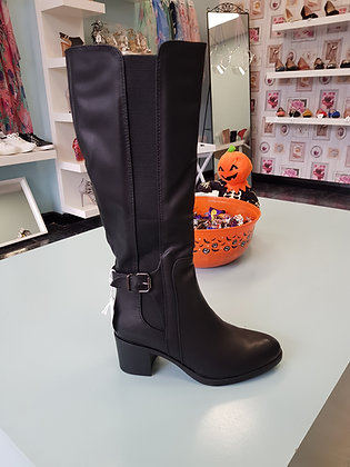 KNEE LENGTH BLACK LEATHER BOOT WITH MID HEEL