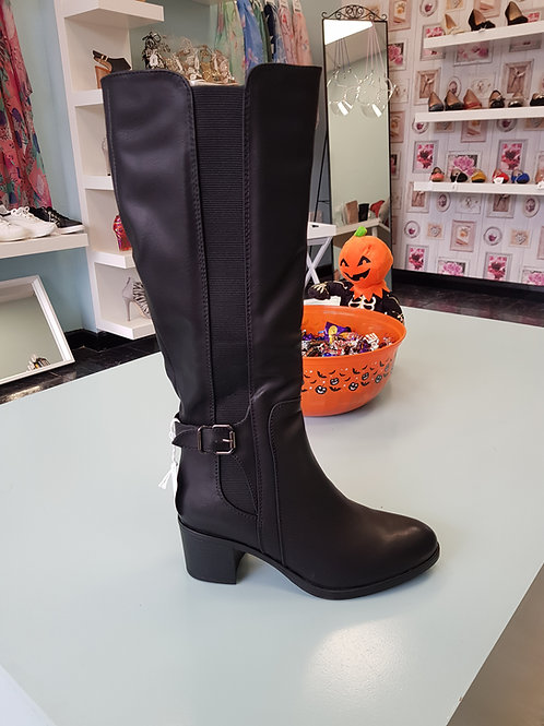 9106 KNEE LENGTH BLACK LEATHER BOOT WITH MID HEEL