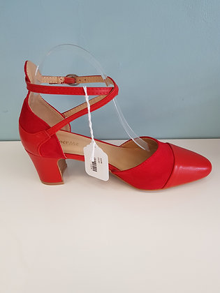RED BLOCK HEEL WITH CROSS OVER ANKLE STRAP