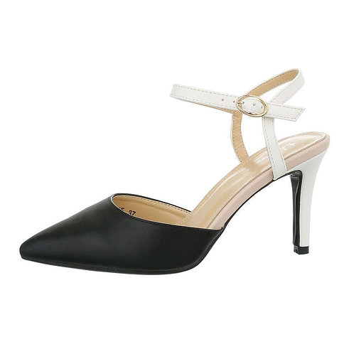 BLACK AND WHITE  CLASSIC HEEL WITH ANKLE STRAP