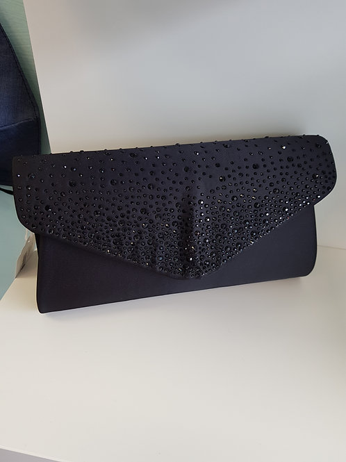 BLACK CLUTCH BAG WITH BUCKLE CLASP
