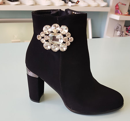 BLACK HEEL ANKLE BOOT WITH DIAMANTE DETAIL