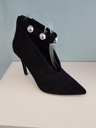 BLACK  SUEDE HIGH HEEL WITH STUDDED ANKLE STRAP
