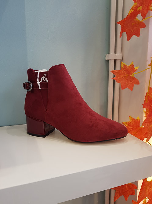 LT140- WINE ANKLE BOOT WITH BUCKLE STRAP