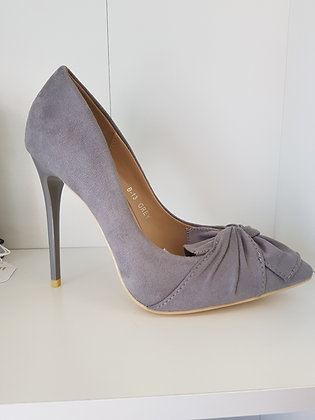 GREY STILETTO PUMP WITH BOW DETAIL