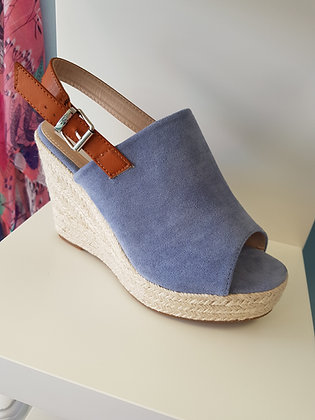 BLUE OPEN TOE HIGH ESPADRILLE WEDGE