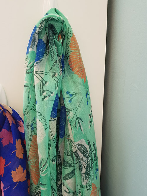 LONG GREEN PATTERNED SCARF