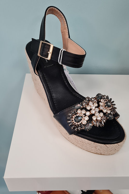 BLACK OPEN TOE HIGH WEDGE WITH DIAMANTE DETAIL