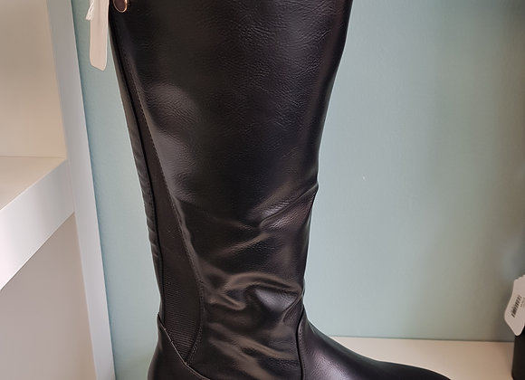 BLACK LEATHER KNEE HIGH BOOT WITH SLIGHT HEEL