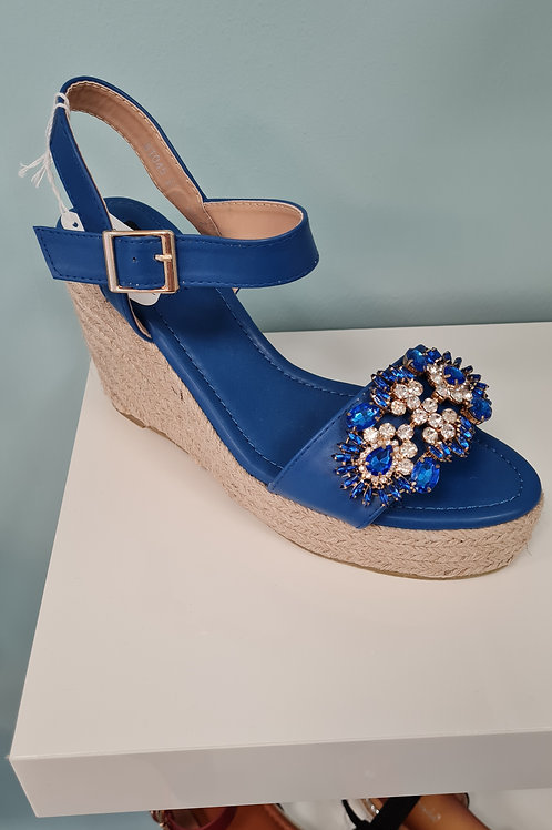 BLUE OPEN TOE HIGH WEDGE WITH DIAMANTE DETAIL