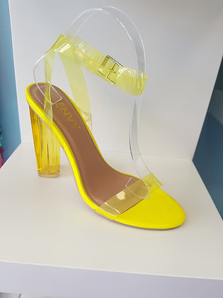 YELLOW PERSPEX HIGH SANDALS