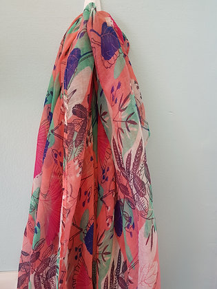 LONG PINK PATTERNED SCARF