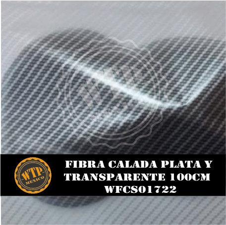 FIBRA CALADA PLATA Y TRANSPARENTE 100 CM