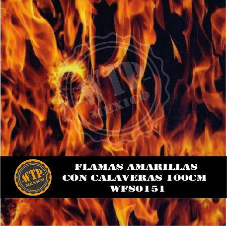 FLAMAS AMARILLAS CON CALAVERAS 100 CM