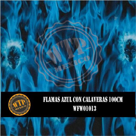 FLAMAS AZUL CON CALAVERAS