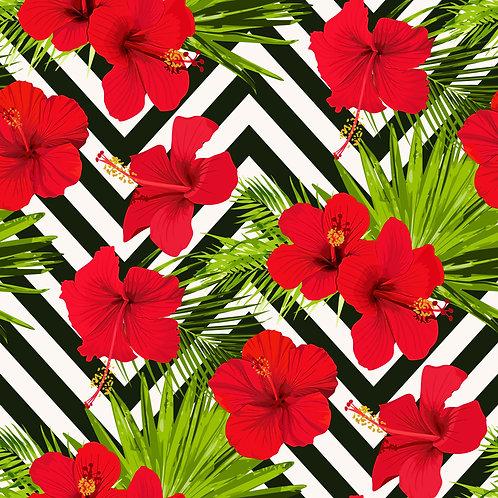 Red Chevron Flowers Printed Adhesive Vinyl