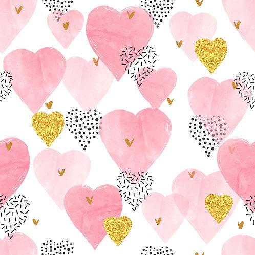Pink Hearts Pattern Printed Adhesive Vinyl