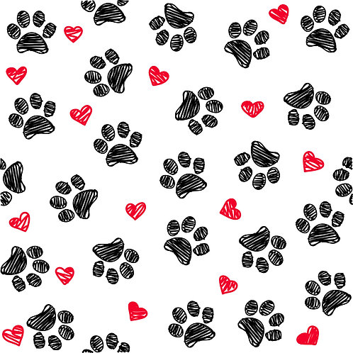 Puppy Paw Love Pattern Printed Adhesive Vinyl
