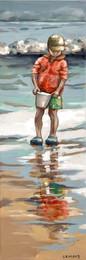 Les pieds dans l'eau 6 20x60 Petit garçon et son seau, pêchant des coquillages, sur la plage. Quimiac/ Bretagne Prix sur demande