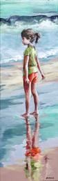 Les pieds dans l'eau 2   Peinture de Mathilde Grimaud Petite fille sur la plage regardant la mer 20x60 cm