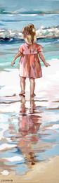 Les pieds dans l'eau 4 Peinture de mathilde Grimaud Petite fille jouant sur la plage, Quimiac / Bretagne Prix sur demande