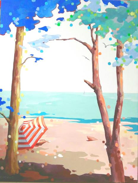 Sur la plage abandonnée / 89x119 /  prix sur demande