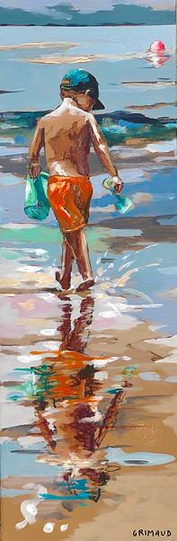 Les pieds dans l'eau 6 Peinture de mathilde Grimaud 20x60 Petit garçon jouant avec l'eau sur une plage de Bretagne. Prix sur demande