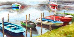 Barques sur l'Erdre / 30x 60 / prix sur demande