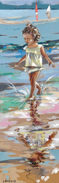 Les pieds dans l'eau 5  Peinture de Mathilde Grimaud 20x60 Petit fille jouant avec l'eau sur une plage de Bretagne. Prix sur demande