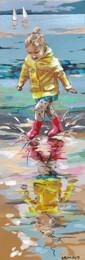 Les pieds dans l'eau 4  Peinture de mathilde Grimaud 20X60 Petite fille jouant avec l'eau sur une plage de Bretagne. Prix sur demande.