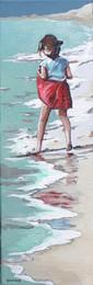 Les pieds dans l'eau 3    Peinture de Mathilde Grimaud Petite fille jouant avec les vagues sur une plage de Bretagne 20X60 cm