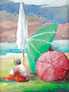 Parasol vert encadré / 23x17 /