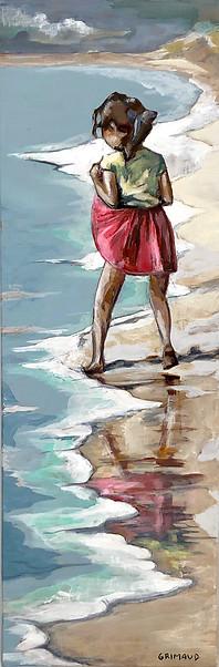 Les pieds dans l'eau 5 20x60 Petite fille jouant avec l'écume, sur la plage en Bretagne / Quimiac Prix sur demande