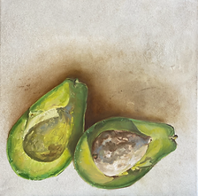 "Aguacate Lorena / óleo sobre piel animal / oil on animal skin/ 40cm x 40cm / 16""x 16"""