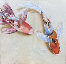 "Koi / óleo sobre piel animal / oil on animal skin/ 40cm x 40cm / 16""x 16"""