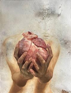 con el corazón en la mano / hand on heart