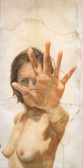 "reaching out /  óleo sobre piel animal / oil on animal skin / 168cm x 84cm / 66""x 33"""