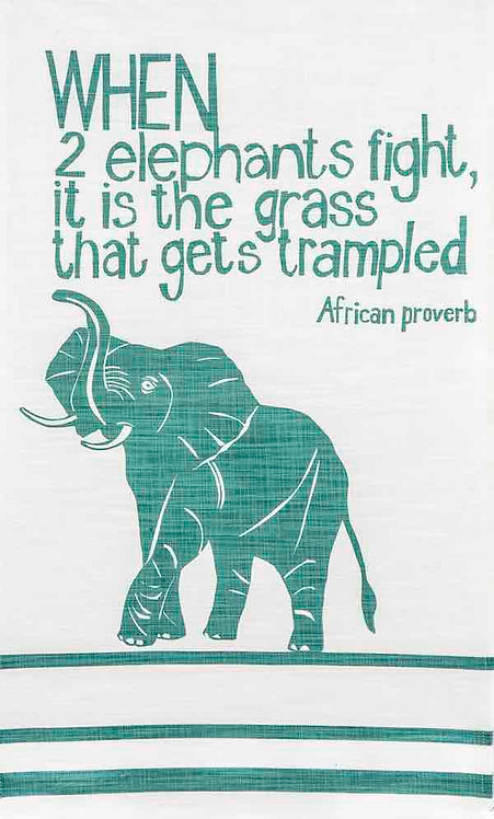 african proverb elephant t-towel red