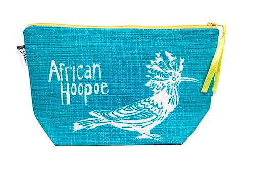 african hoopoe teal makeup purse