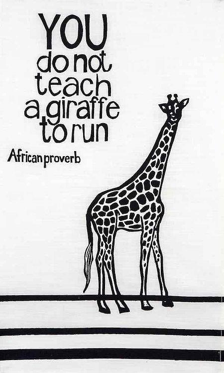african proverb giraffe t-towel navy