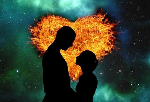 Tvillingsjäl, hjärta eld, kärlek, par