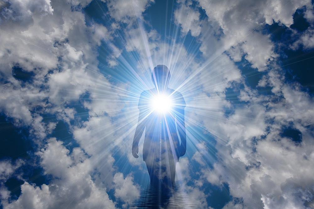 människa, ande, ljus, himmel, moln