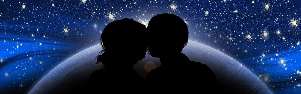 stjärnor, universum, kärlek, par, man, kvinna