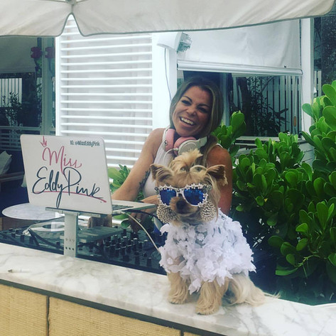 DJ Miss Eddy Pink and Cutest Poolside Pup