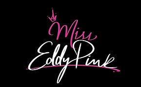 Female DJ Miss Eddy Pink logo with pink an white font colors.