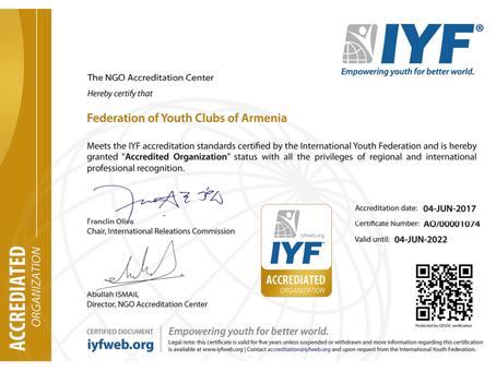 ԵԱԴ-ն հավաստագիր է ստացել միջազգային երիտասարդական կազմակերպություն IYF-ից